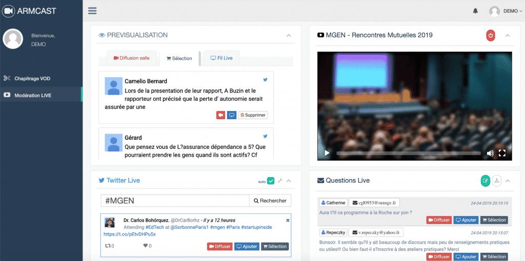 Armcast - interface de gestion de l'interacticité de votre web-conférence